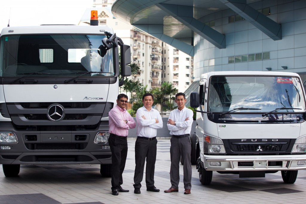 From left: Mercedes-Benz Malaysia Senior Manager, Mercedes-Benz Commercial Vehicles, Kamaljit Singh; Vice President, Commercial Vehicles Albert Yee and Senior Manager, FUSO Trucks, Jacky Tan.
