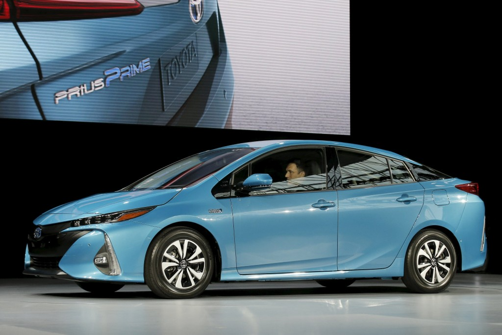 A Toyota Prius Prime is seen during the media preview of the 2016 New York International Auto Show in Manhattan, New York