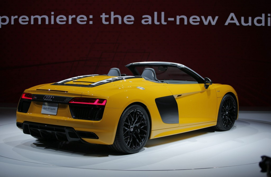 The Audi 2017 R8 Spyder is seen during the 2016 New York International Auto Show media preview in Manhattan, New York