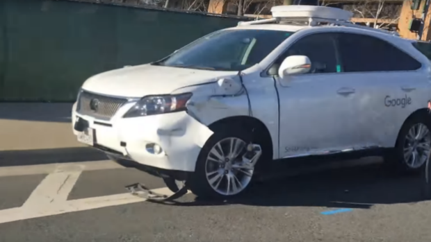 Google self driving car after hitting a bus in California. Image: YouTube